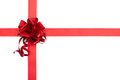 Red gift ribbon bow of shiny fabric Royalty Free Stock Photography