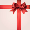 Red gift ribbons with bow realistic decorative Royalty Free Stock Image