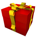Red gift with yellow ribbon d render of golden these items are ideal for decorate your greeting e mail greeting card web site Stock Images