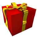Red gift with yellow ribbon d render of golden these items are ideal for decorate your greeting e mail greeting card web site Stock Photos