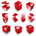 Red giftbox set Royalty Free Stock Image