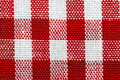 Red gingham fabric close up macro and white checkered plaid Royalty Free Stock Photos
