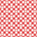 Red gingham fabric cloth with flowers, seamless pattern included Stock Photography