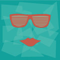 Red glasses with lips in a blue background Royalty Free Stock Images