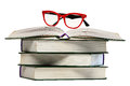 Red glasses on open book Royalty Free Stock Photo