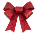 Red Glitter Christmas Bow Stock Photos