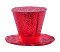 Red glitter hat on a white background Stock Image