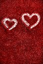 Red glitter hearts Valentine's Day abstract background love sparkle Royalty Free Stock Photography