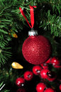 Red glitter holiday ornament and berries Stock Photography