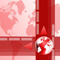 Red globe background abstract business with and map of the world Stock Image
