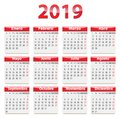 2019 Spanish calendar red and glossy