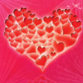 Red glossy heart a colored background Royalty Free Stock Photos