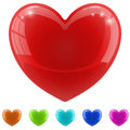 Red glossy heart illustration with color variants Stock Images