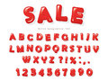 Red glossy letters and numbers with soft shadows. Festive font design. Royalty Free Stock Photo