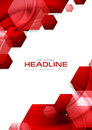Red glossy tech hexagons vector background Royalty Free Stock Photo
