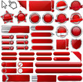 Red Glossy Web Icons and Buttons Royalty Free Stock Photo