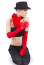 Red gloves and black hat. Royalty Free Stock Images