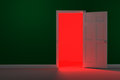 Red glowing hallway d rendered image of a white door in a green wall a bright and light shines from the hall way Stock Image