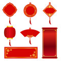 Red and gold Banner label for chinese new year and chinese festival vector set design Royalty Free Stock Photo