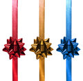 Red Gold Blue Christmas Ribbon Gift Royalty Free Stock Photo