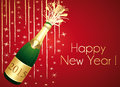Red and gold champaign greeting card happy new year Royalty Free Stock Photography