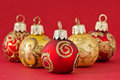 Red and gold christmas balls before background Royalty Free Stock Image