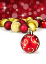 Red and gold Christmas baubles Stock Image