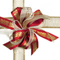 Red and Gold Christmas Bow Royalty Free Stock Photo