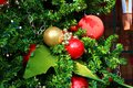Red and Gold Christmas Ornaments Royalty Free Stock Photo