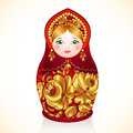 Red and gold colors russian doll matryoshka vector Royalty Free Stock Photos