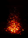 Red and gold Festive Christmas elegant abstract background with bokeh lights. Royalty Free Stock Photo
