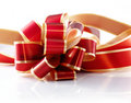 Red & Gold Gift Bow Stock Photography