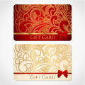 Red gold gift card discount card floral pattern red bow ribbons background design usable gift coupon voucher invitation ticket etc Stock Photos