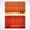 Red and gold gift card discount card with stripy pattern and red bow ribbons this background design usable for gift coupon voucher Stock Image