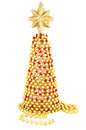 Red and gold hand made christmas tree from worn old vintage beads economical craft theme intended for greeting card design Royalty Free Stock Image