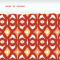 Red and gold ikat geometric frame horizontal torn vector seamless pattern background with hand drawn elements Stock Photos
