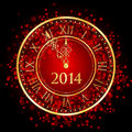 Red and gold new year clock vector illustration of Stock Photos