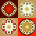 Red Gold Ornament Design Elements Stock Photos