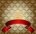 Red On Gold Ornate Banner Royalty Free Stock Photography
