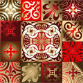 Red Gold  Quad Ornament Stock Photos