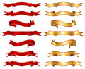 Red & gold ribbon banner fancy collection set Royalty Free Stock Photo