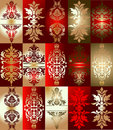 Red Gold Various Elements Ornament Royalty Free Stock Photo