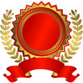 Red and golden award with ribbon (vector) Royalty Free Stock Photo