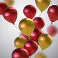 Red And Golden Balloon Bunch. Royalty Free Stock Photo