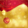 Red golden christmas background with baubles festive traditional hanging blurry lights stars and snowflakes for the magical season Stock Photography