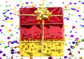 Red and golden gift box Stock Image