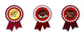 Red and golden ribbon rosette Royalty Free Stock Photo