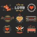 Red and golden Valentines day design elements set on black background