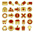 Red and Golden Web Icons Stock Photos