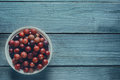 Red gooseberries in a bowl Royalty Free Stock Photo